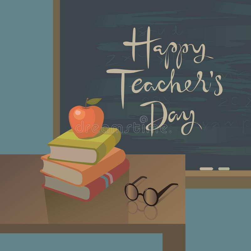 Teachers day greeting card vector background vector illustration