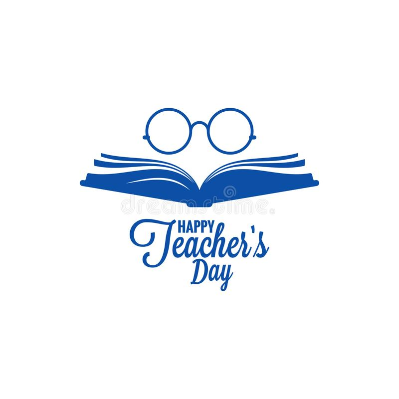 Teachers day logo. Glasses and book icon on white background royalty free illustration