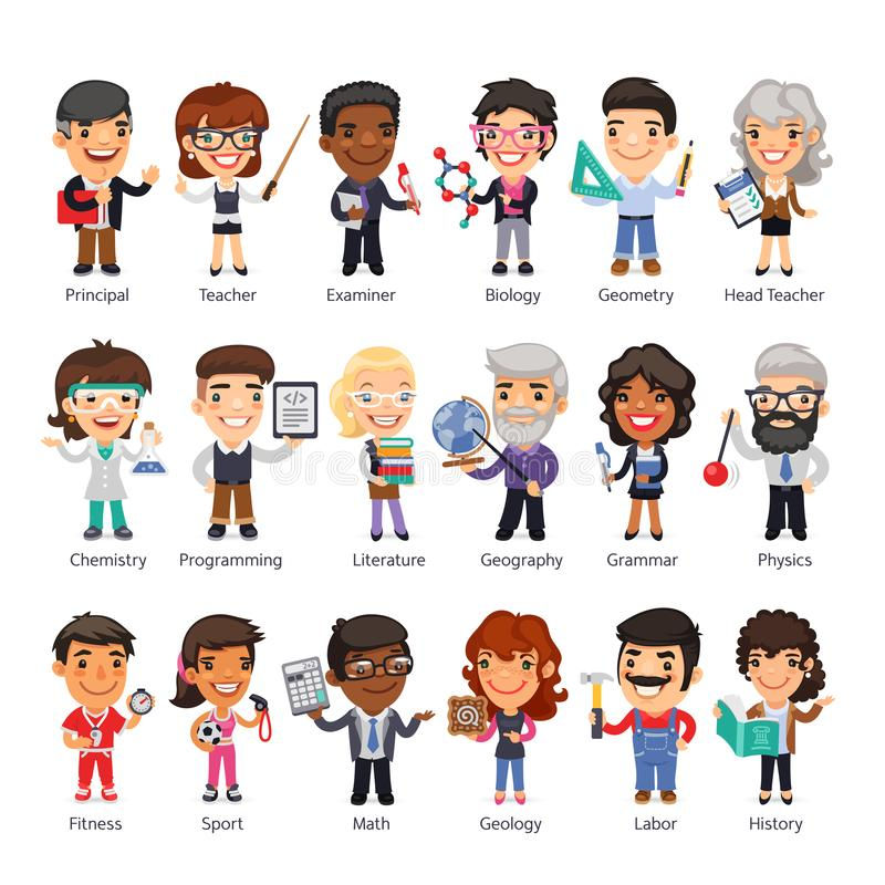 Teachers Flat Cartoon Characters. Cartoon flat characters of teachers in various poses. Isolated on white background. Clipping paths included royalty free illustration