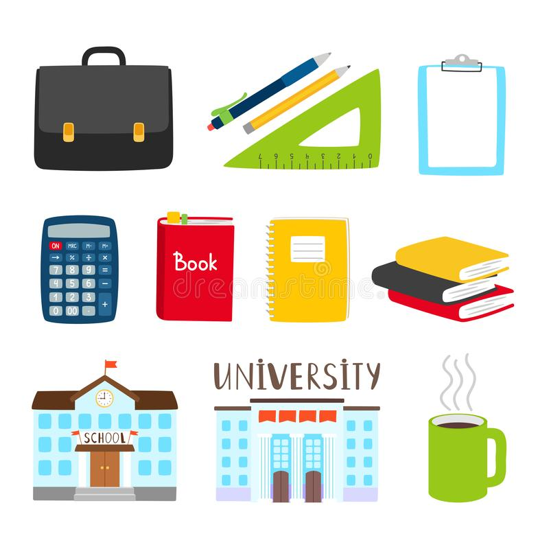Teachers and students tools icons. Vector subjects for study cartoon collection stock illustration