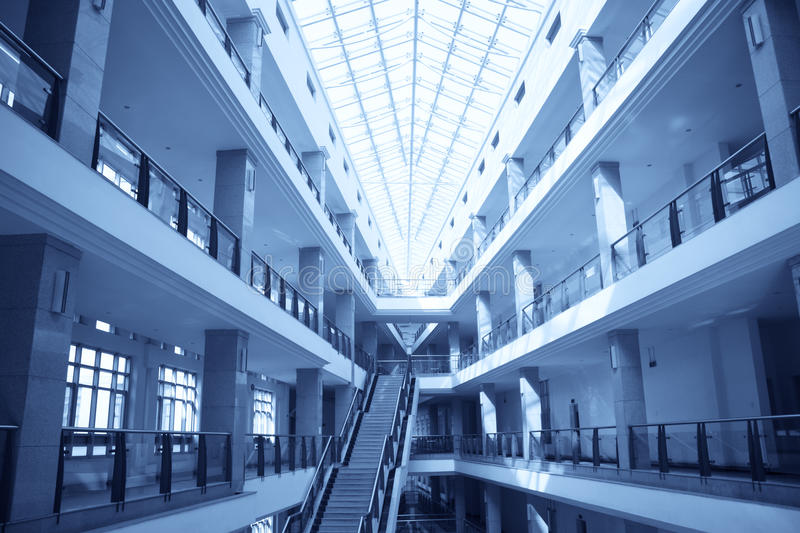 Teaching building. In a university with blue tone royalty free stock image