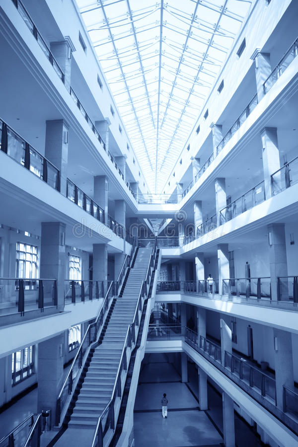 Teaching building. In a university with blue tone royalty free stock images