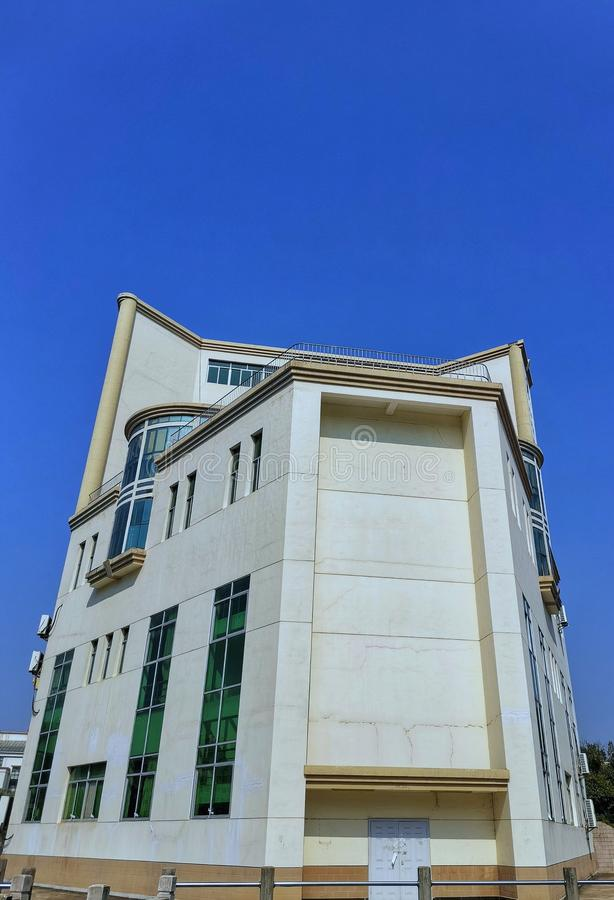 Teaching building with blue sky. Closeup of teaching building at a university in wuhan city, china stock photos