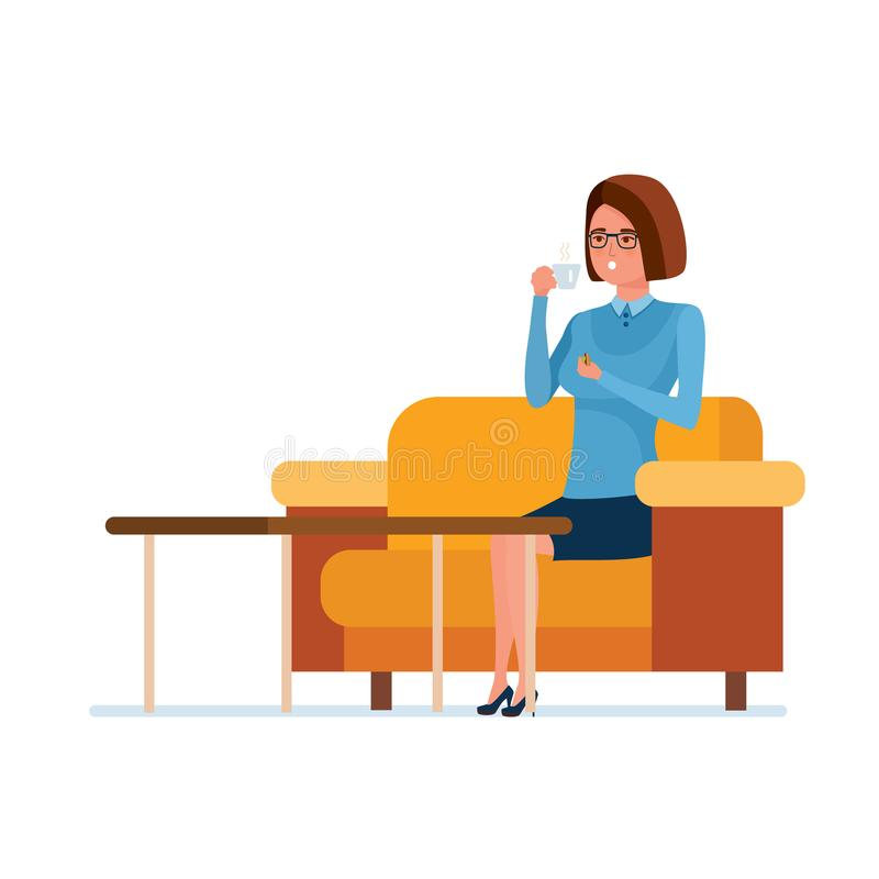 Teacher, in teachers office at lunchtime, drinks tea with sweets. stock illustration