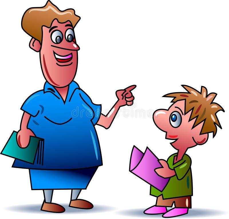 Teaching with kid stock illustration