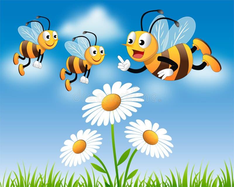 Teaching Teamwork. Expert honey bee teaches the newbies how to collect honey through teamwork