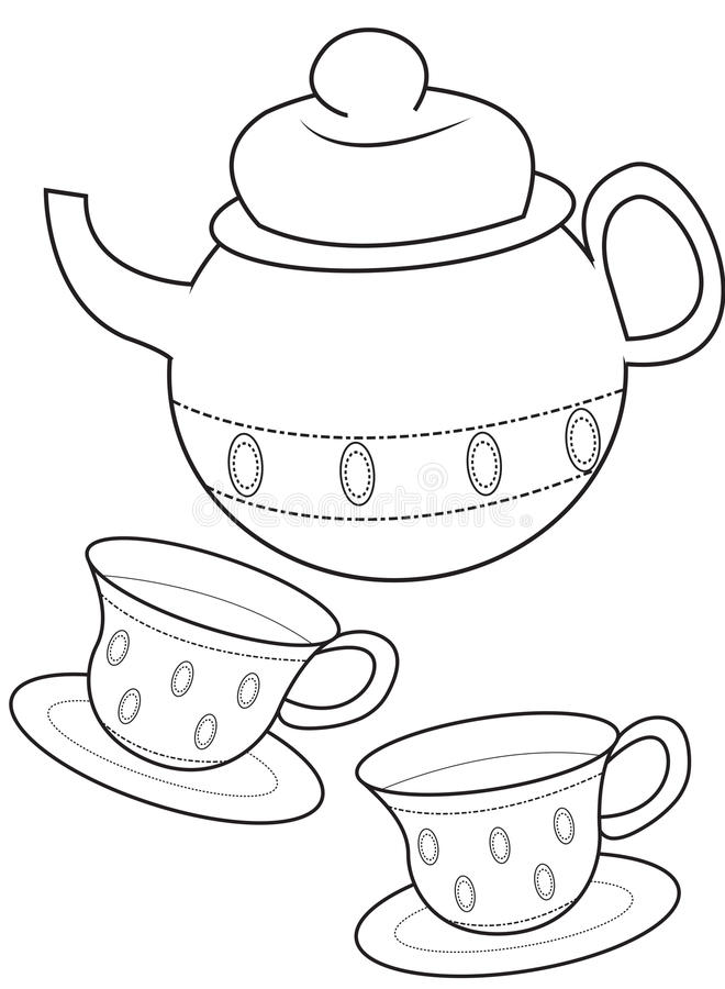 Teacup coloring page stock illustration Illustration of coloring