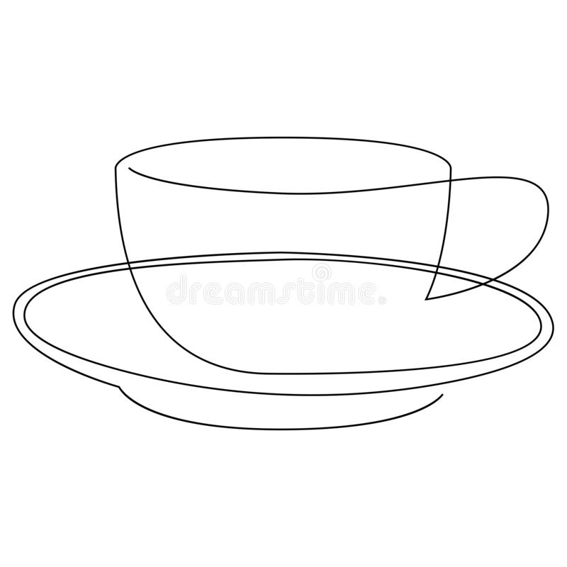 Teacup continuous line. One line tea of coffee cup vector illustration. stock illustration