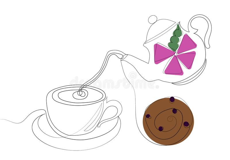 Teacup with cookie. Tea party. Colored illustration in one line style vector illustration