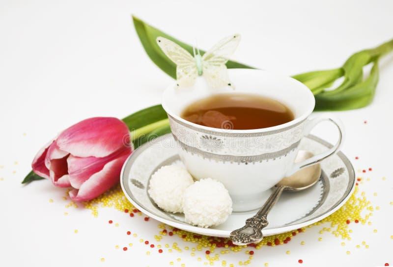 Teacup e flores fotografia de stock royalty free