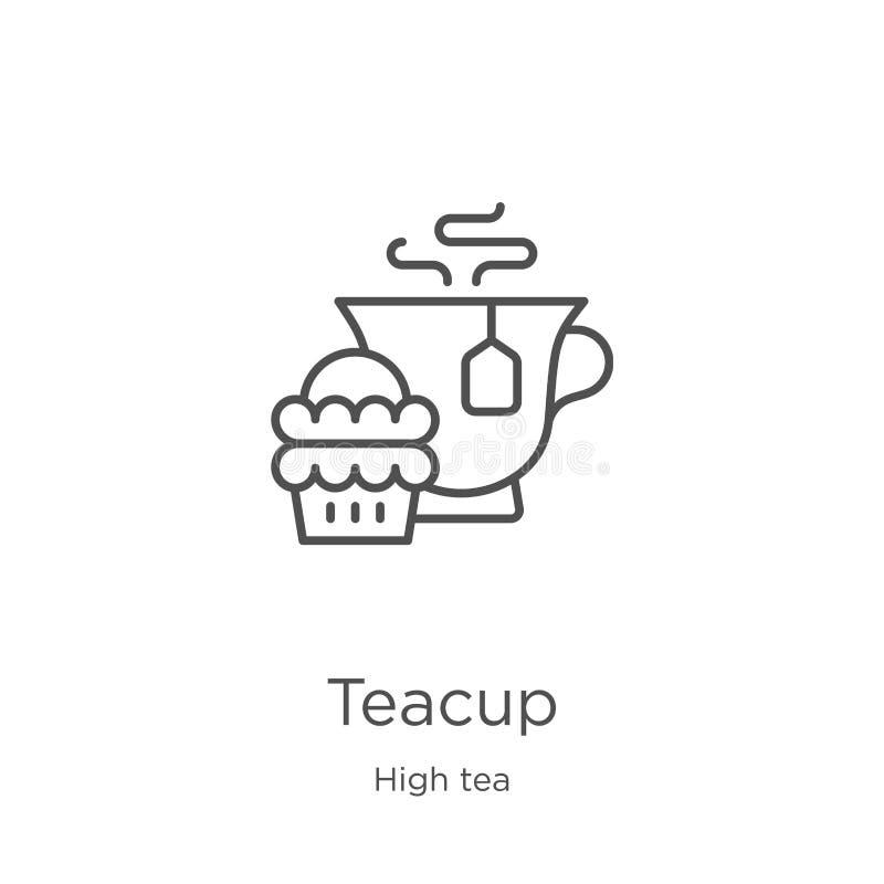teacup ikony wektor od wysokiej herbaty kolekcji Cienka kreskowa teacup konturu ikony wektoru ilustracja Kontur, cienieje kreskow ilustracja wektor