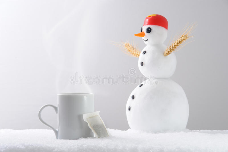 Download Teacup snowman stock image. Image of winter, morning - 28201249