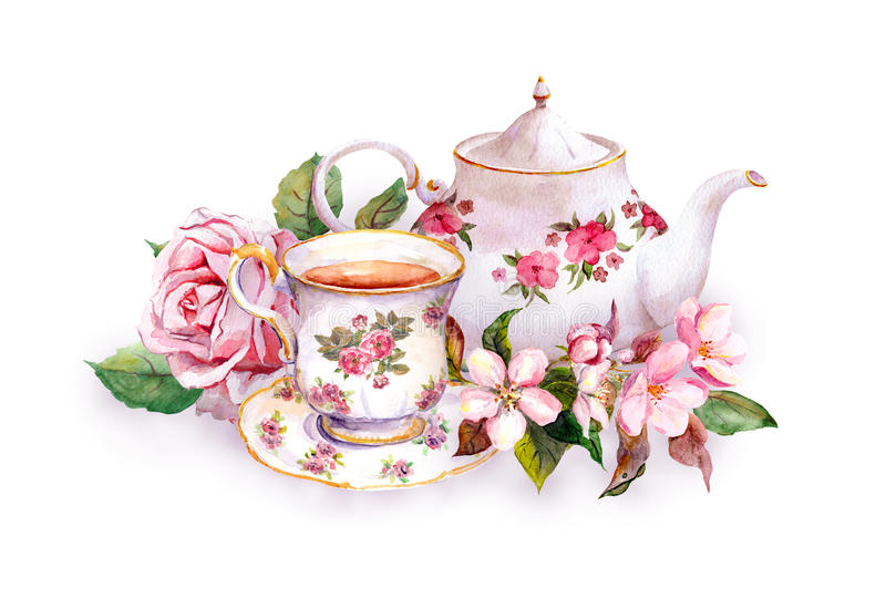 Teacup, tea pot, pink flowers - rose and cherry blossom. Watercolor royalty free illustration