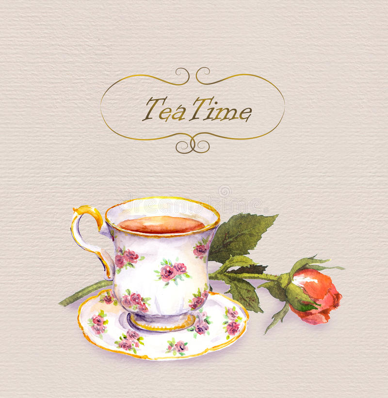 Teacup with tea, rose flower. Watercolour postcard. Teacup with tea and rose flower. Watercolour postcard royalty free illustration