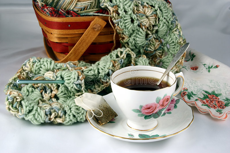 Download Teacup & Yarn stock photo. Image of teacup, crafts, brew - 68634
