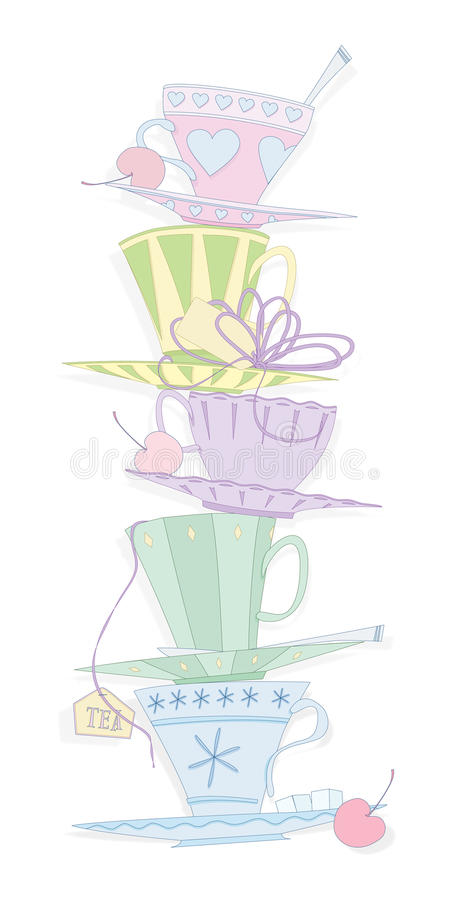 teacups stock illustrationer