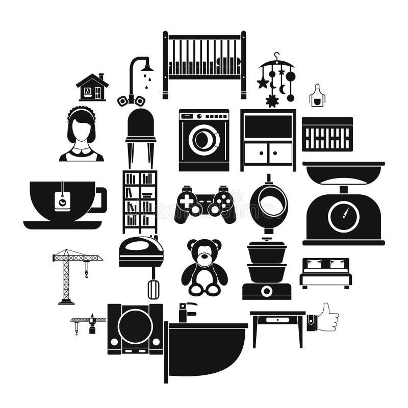 Teahouse ikony ustawiać, prosty styl ilustracja wektor