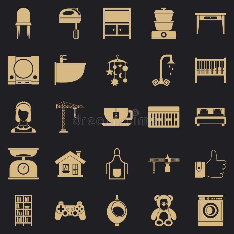 Teahouse ikony ustawia?, prosty styl royalty ilustracja