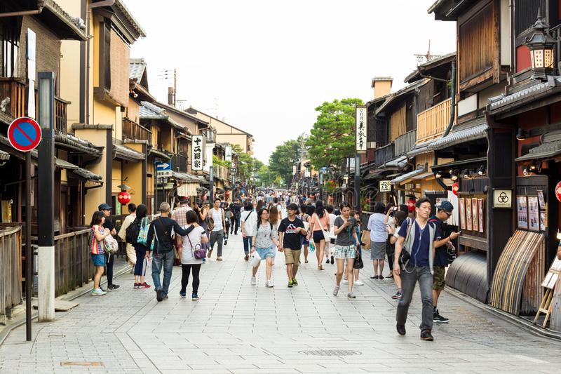 Teahouses του Κιότο Ιαπωνία περιοχής γκείσων Gion στοκ φωτογραφίες
