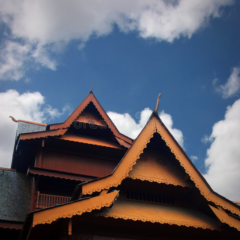 Download Teak house roof stock photo. Image of wooden, clouds, ornate - 6470478