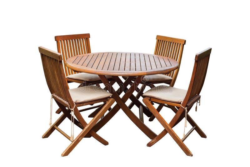 Teak houten lijst en stoelen die op witte achtergrond wordt geïsoleerd stock afbeelding