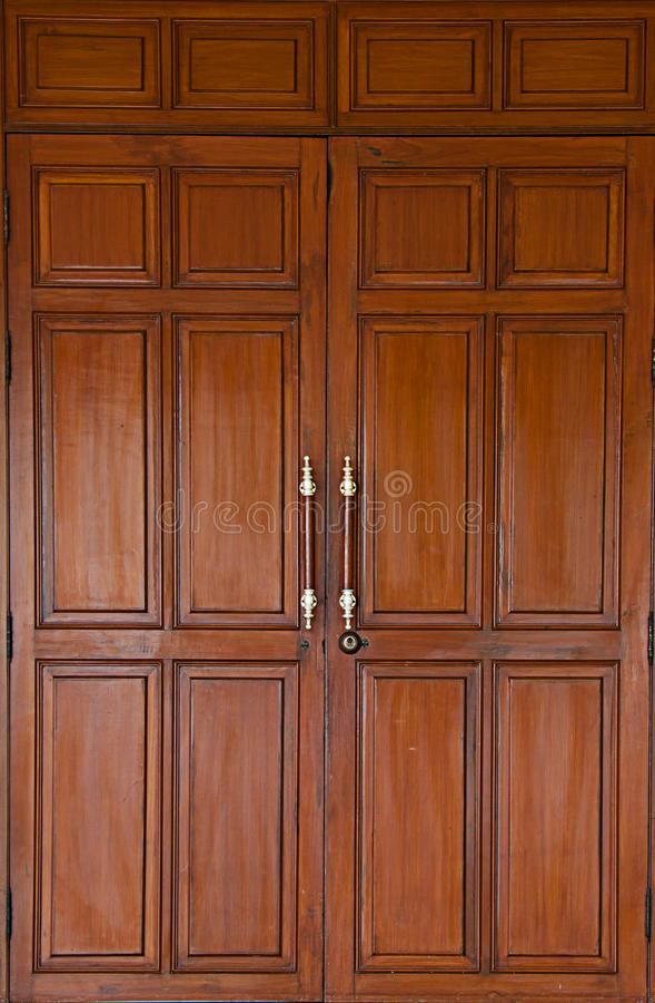 Teak wood door stock photo image of decor lock modern for Take wood door designs