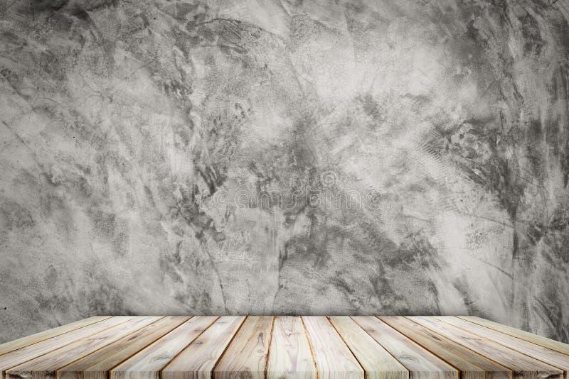 Teak wood shelf on wall texture loft style background. stock photo