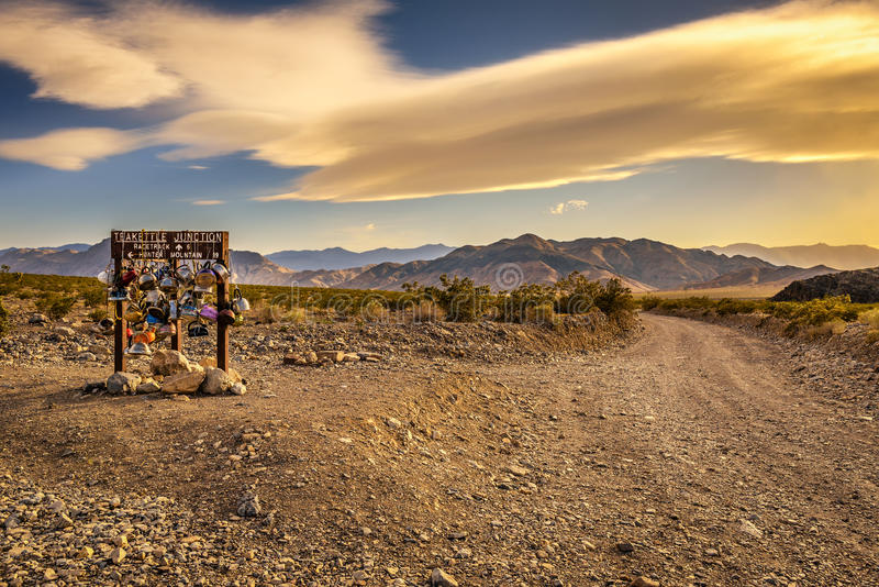 Teakettle Junction in Death Valley National Park, California. Famous Teakettle Junction on the way to Racetrack Playa in Death Valley National Park, California stock images