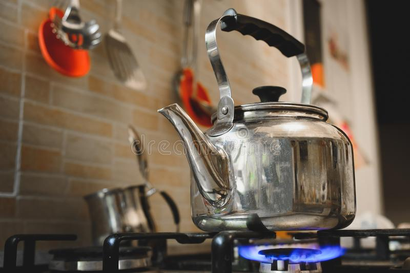 Teakettle stove cooker teapot kettle.  royalty free stock photography