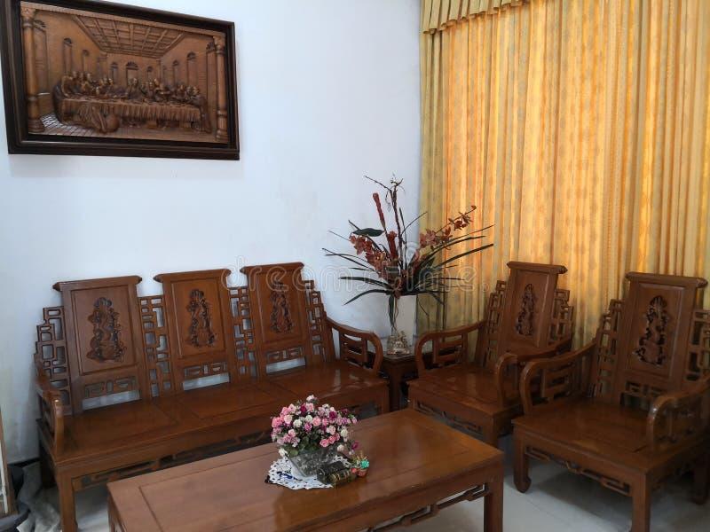 Teakwood Grandis lub Tectona jesteśmy tropikalnym twardym drzewem używać dla wysokiej jakości salowego meble dla w Jawa, szczegól fotografia stock