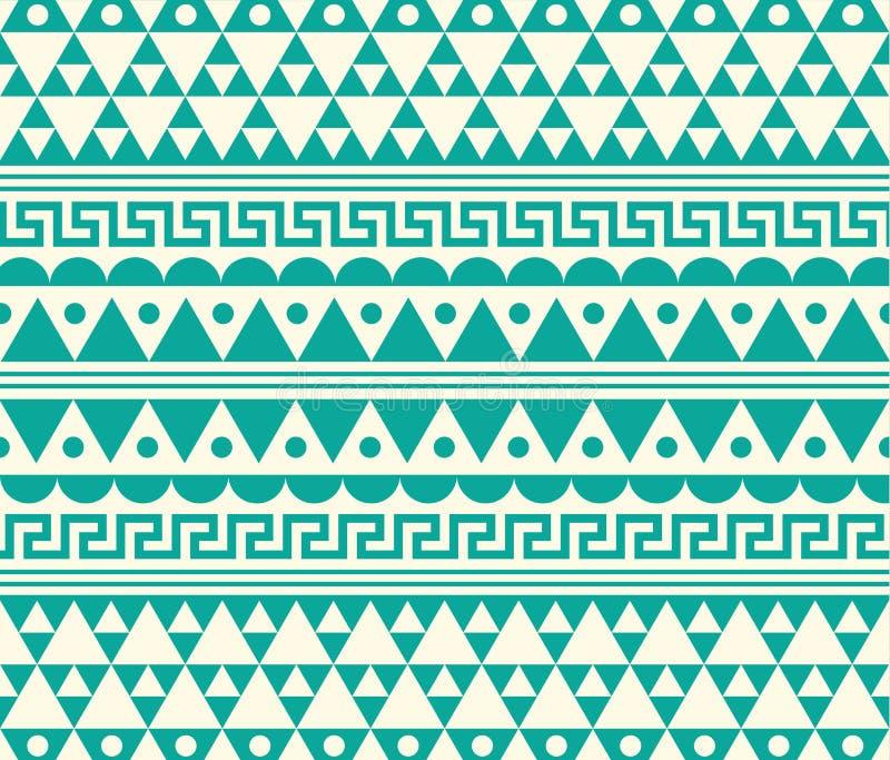Teal вектора племенной и белая этническая иллюстрация картины иллюстрация штока