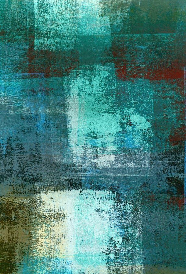 Teal и зеленая картина абстрактного искусства стоковая фотография