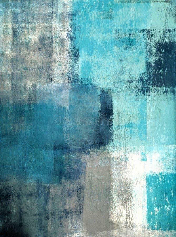 Teal и серая картина абстрактного искусства стоковое фото rf