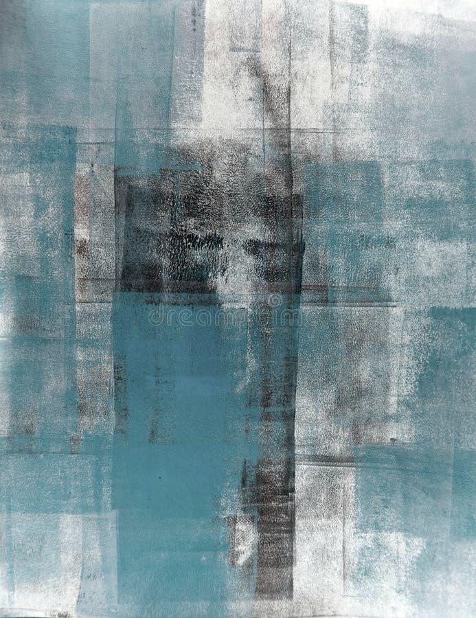 Teal и черная картина абстрактного искусства иллюстрация вектора
