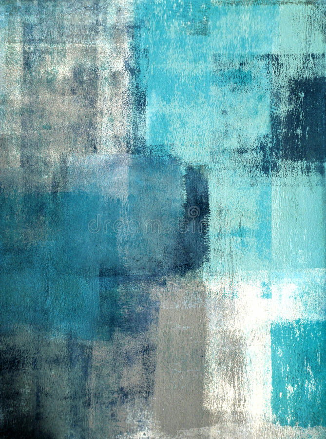 Free Teal And Grey Abstract Art Painting Royalty Free Stock Photo - 40294335