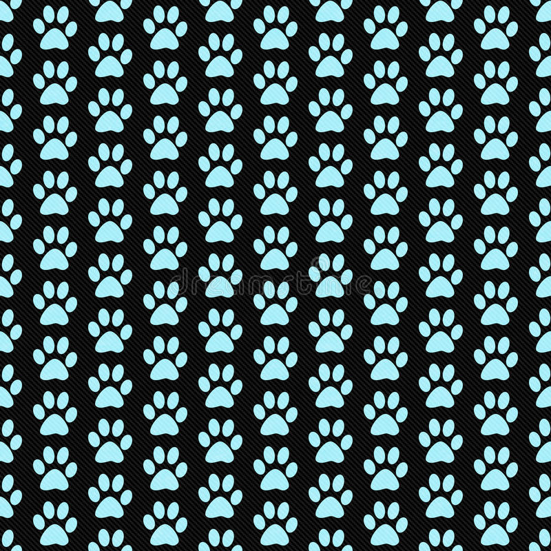 Teal and Black Dog Paw Prints Tile Pattern Repeat Background stock illustration