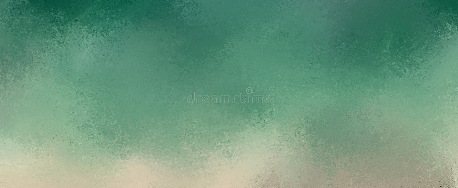 Teal blue and green background with gray and beige grunge border design in soft textured grunge stock images