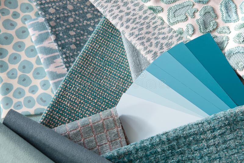 Teal blue green interior decoration plan royalty free stock photo