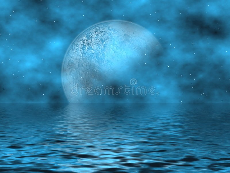 Download Teal Blue Moon & Water stock illustration. Image of dream - 3058028