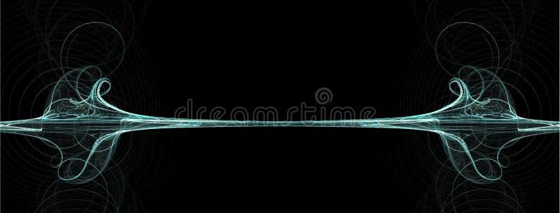 Teal blue wave swirl border royalty free illustration