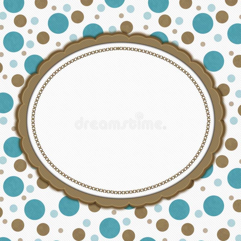 Teal, Brown and White Polka Dot Frame Background vector illustration