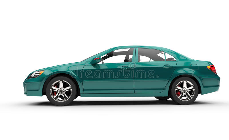 Teal Business Car Side View royalty free illustration