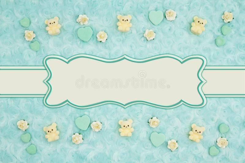 Teal candy hearts and rose buds on pale teal plush fabric background royalty free illustration