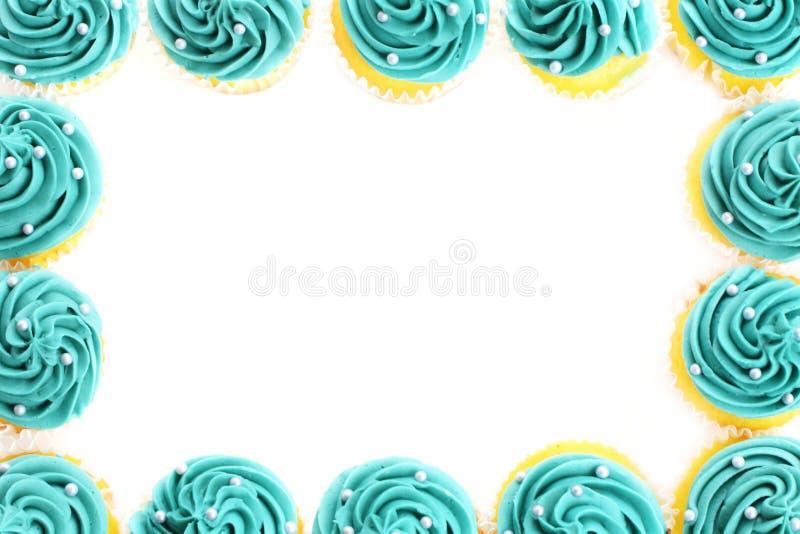 Teal Cupcake Border stock image