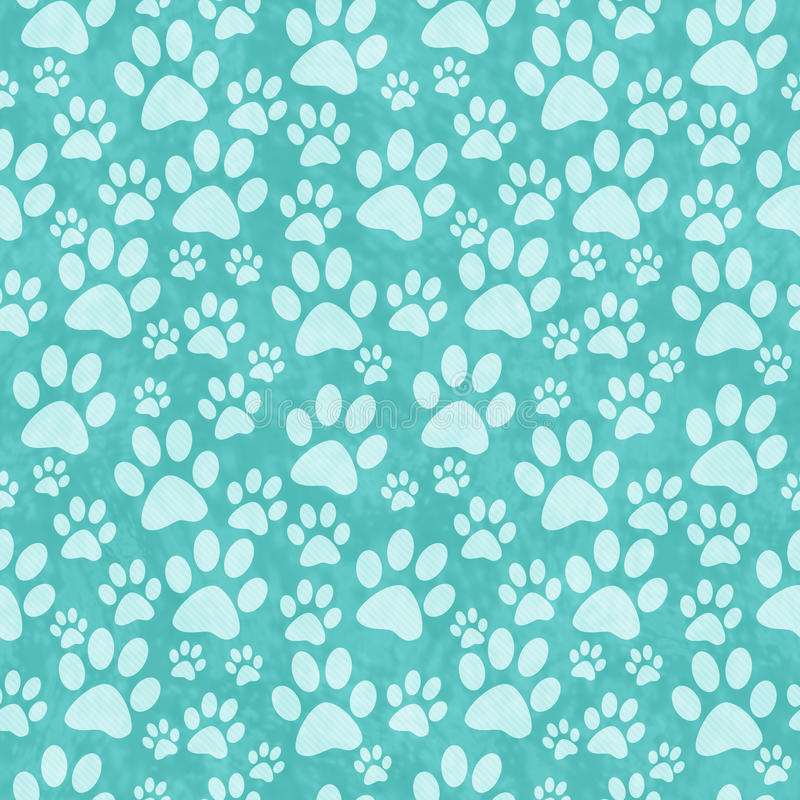 Teal Doggy Paw Print Tile Pattern Repeat Background stock photo