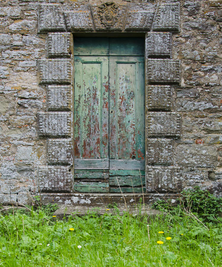 Teal Doors in Cortona, Italië royalty-vrije stock foto