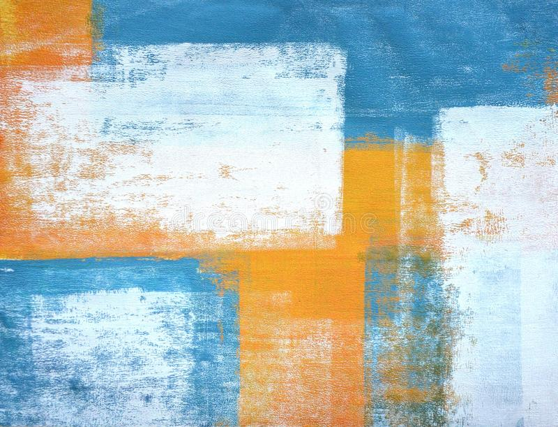 Teal et Art Painting abstrait orange illustration stock