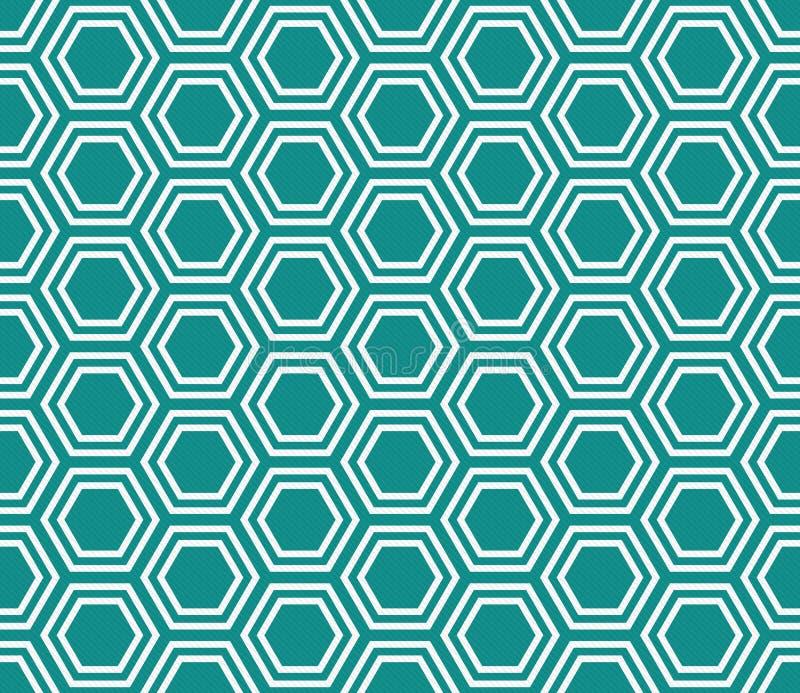 Teal et fond blanc de répétition de modèle de tuiles d'hexagone images stock