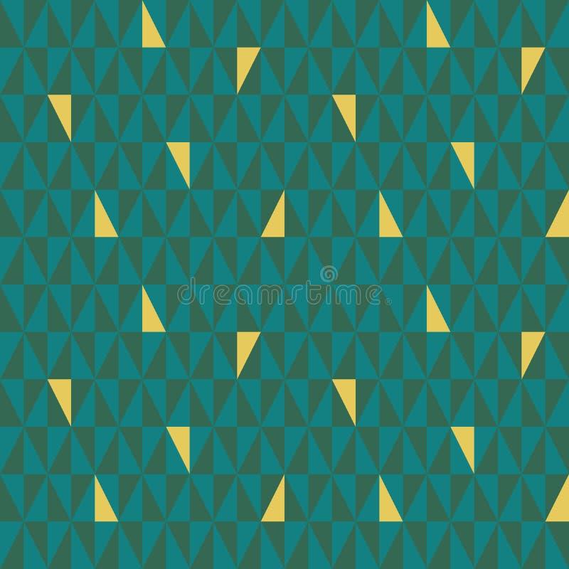 Teal et modèle géométrique vert de triangle avec les éléments aléatoires d'or Modèle sans couture de vecteur avec le vibe abstrai illustration stock