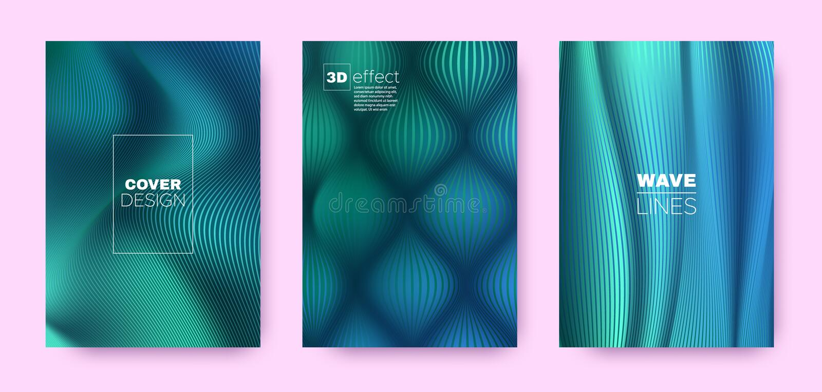 Teal Flow Poster. Abstract Covers Set. Business. Distorted Lines. 3d Geometric Illustration. Flow Lines Pattern. Dynamic Covers Set. Turquoise Design Banner stock illustration